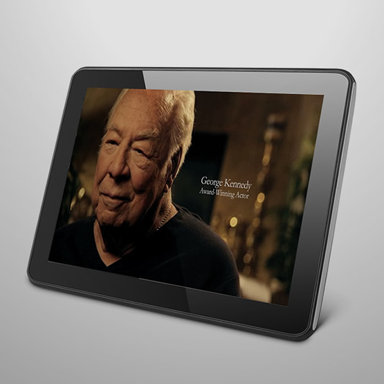 interim healthcare promotional video displayed on tablet